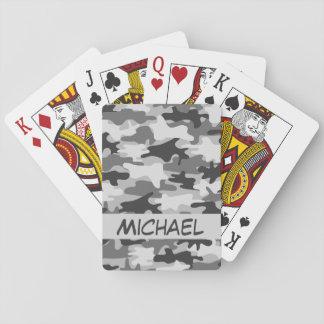 Baraja De Cartas Póker personalizado nombre gris del camuflaje de