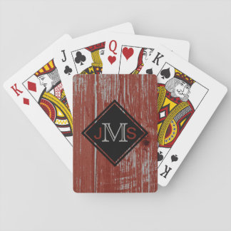 Baraja De Cartas Rojo de madera 3 del granero rústico con monograma