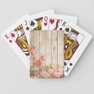 Baraja De Cartas Rosas románticos rústicos del vintage de madera