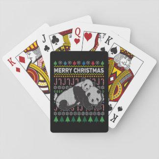 Baraja De Cartas Suéter feo de las Felices Navidad de la fauna de