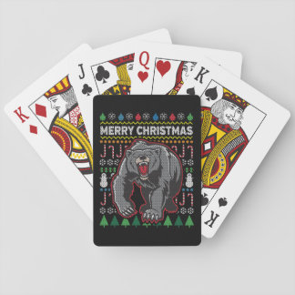 Baraja De Cartas Suéter feo de las Felices Navidad de la fauna del