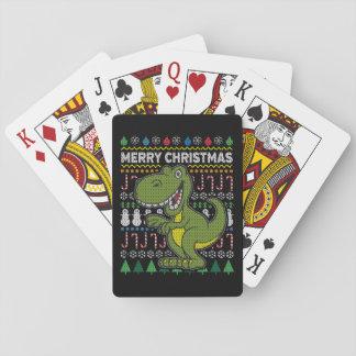 Baraja De Cartas Suéter feo verde de las Felices Navidad de la