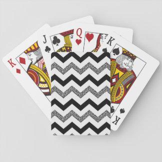 Baraja De Cartas Tarjetas blancas de Chevron del purpurina (caras