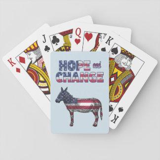 Baraja De Cartas Tarjetas Democratic del burro de la esperanza y