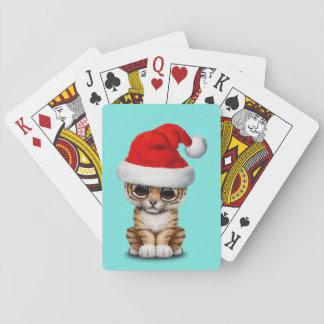 Baraja De Cartas Tigre Cub lindo que lleva un gorra de Santa