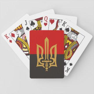 Baraja De Cartas Tryzub estilizado y bandera Rojo-Negra