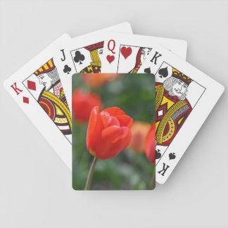 Baraja De Cartas Tulipanes rojos en el jardín