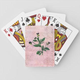 Baraja De Cartas Violas botánicas rosadas del vintage