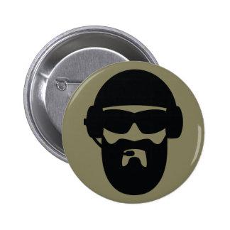 Barba táctica con el casco - negro en verde chapa redonda de 5 cm