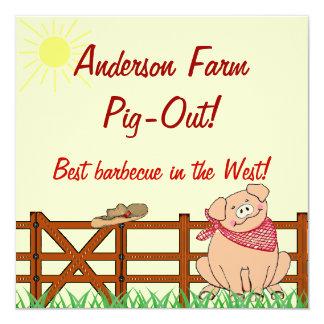Barbacoa del cerdo de la granja del país invitación 13,3 cm x 13,3cm
