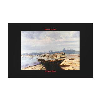Barca en la playa lona estirada galerias