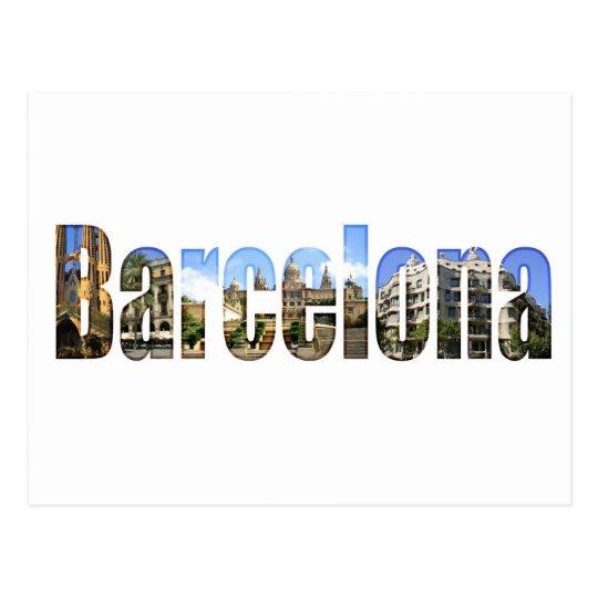Barcelona con las atracciones turísticas en letras postal