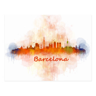 Barcelona Skyline watercolor v04 Postal