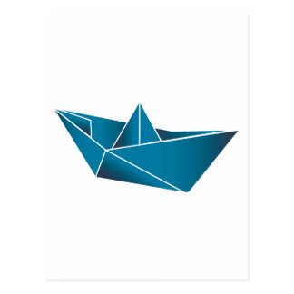 Barco azul Origami Postales