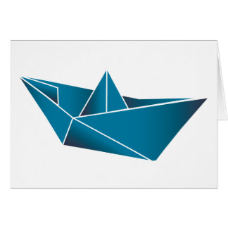 Barco azul Origami Tarjetas