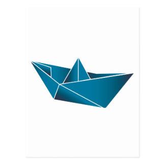 Barco azul Origami Postales