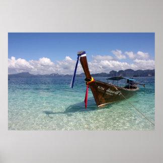 Barco de Longtail en el poster de Tailandia