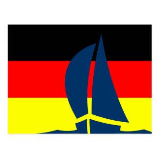 Barco de navegación alemán de la bandera de postal