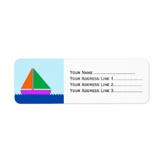 Barco de navegación en el agua etiquetas de remite