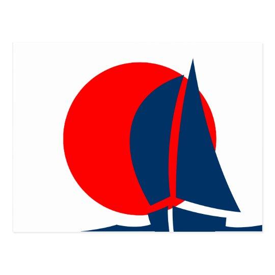 Barco de navegación japonés de la bandera Japón Postal