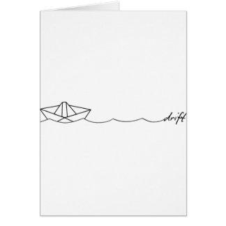 Barco de papel de la deriva tarjeta de felicitación