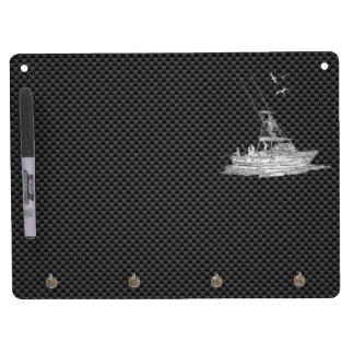 Barco de pesca de plata en fibra de carbono pizarra blanca