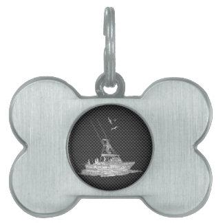 Barco de pesca de plata en fibra de carbono placa mascota