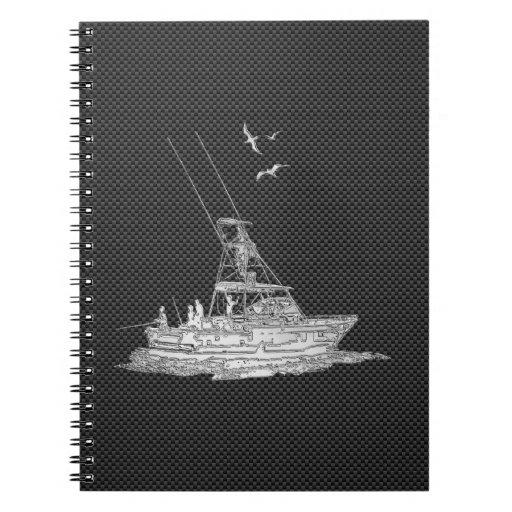 Barco de pesca del cromo en fibra de carbono libros de apuntes con espiral