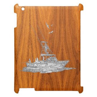 Barco de pesca del cromo en la decoración de