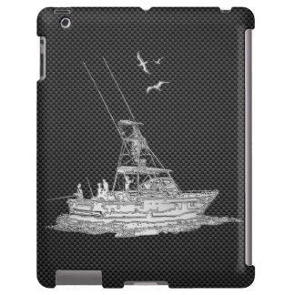 Barco de pesca del cromo en la decoración de la funda para iPad