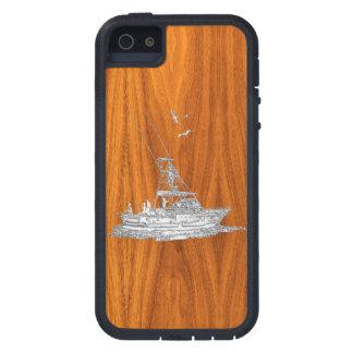 Barco de pesca del estilo del cromo en la iPhone 5 Case-Mate carcasas