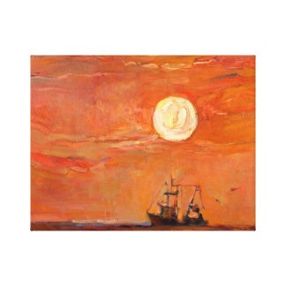 Barco de pesca en el océano en la puesta del sol lienzo envuelto para galerias