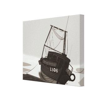 Barco de pesca impresiones en lona estiradas