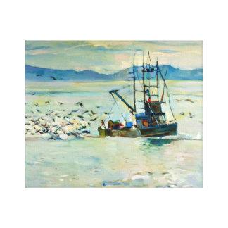 Barco de pesca y gaviotas impresiones de lienzo
