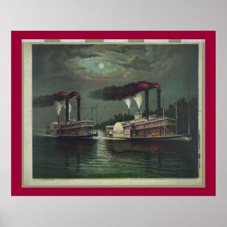 Barco de vapor del vintage en la litografía de póster