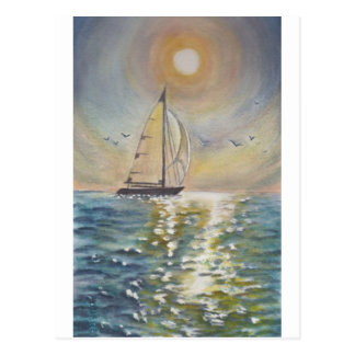 Barco de vela Sun y mar, acuarela. Postal