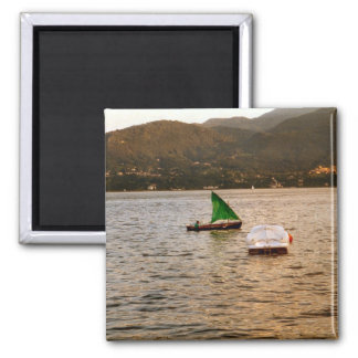 Barco de vela tradicional, Menaggio Imán Cuadrado