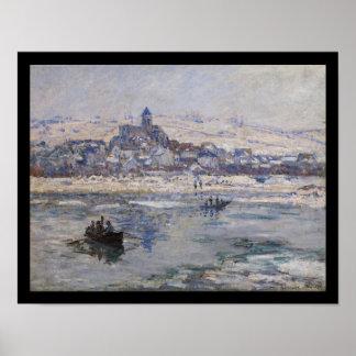 Barco del en Hiver de Vetheuil en el río Póster