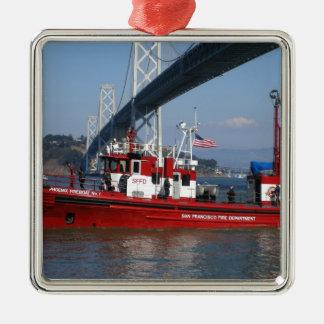 Barco del fuego de San Francisco Adorno Navideño Cuadrado De Metal
