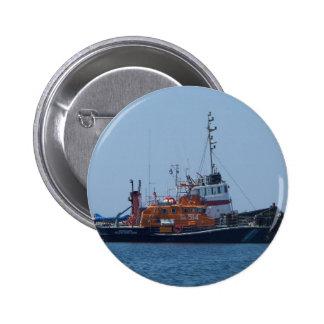 Barco del guardacostas y barco del tirón chapa redonda de 5 cm