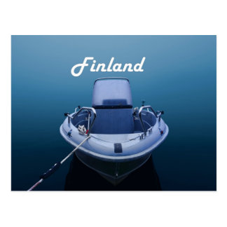 Boat in the foggy sea in Finland postcard