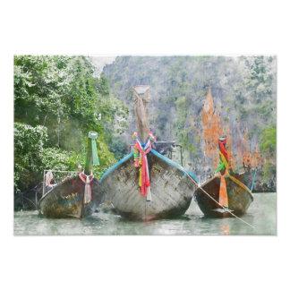 Barco largo tradicional en Tailandia Arte Con Fotos