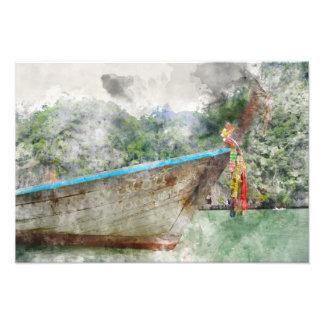 Barco largo tradicional en Tailandia Cojinete