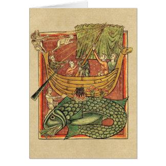 Barco naufragado en una ballena tarjeta de felicitación