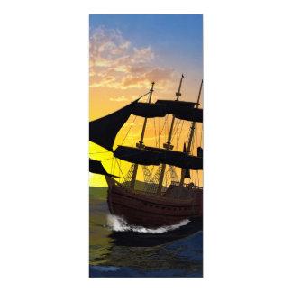Barco pirata en los altos mares invitación 10,1 x 23,5 cm