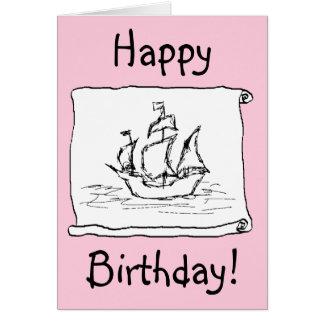 ¡Barco pirata Galleon! Tarjeta de cumpleaños