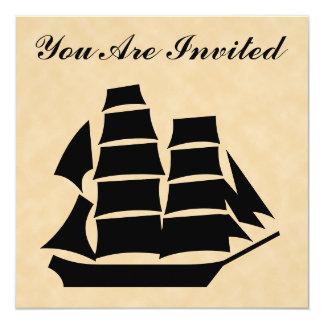 Barco pirata. Velero Invitación 13,3 Cm X 13,3cm