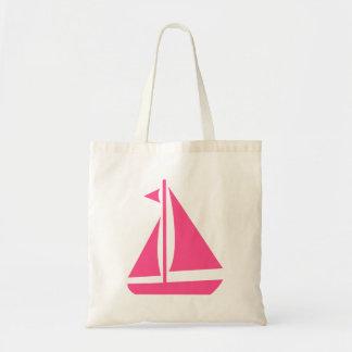 Barco rosado náutico del océano de la playa del bolso de tela