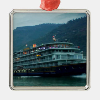 Barco turístico chino en el río Yangtz Adorno Navideño Cuadrado De Metal