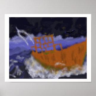 Barco viejo en arte de la tormenta